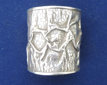 Sterling silver wide cuff, bangle.