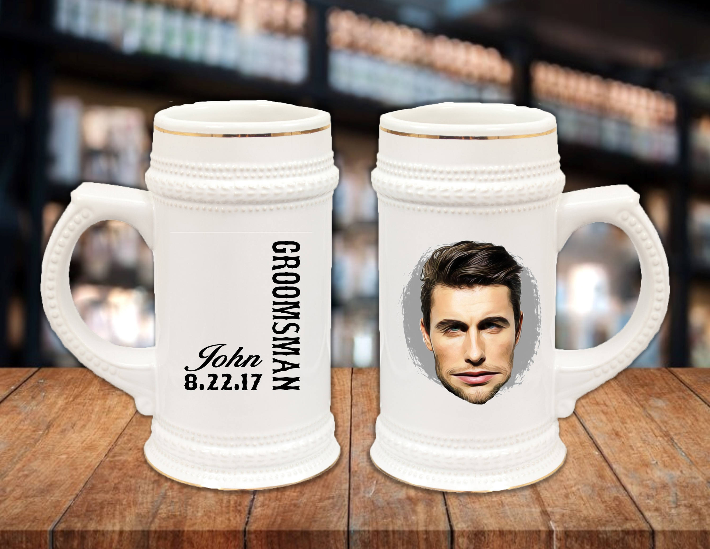 22oz German Style Stein Mug Groomsman Gift Ideas Guys Gift Idea