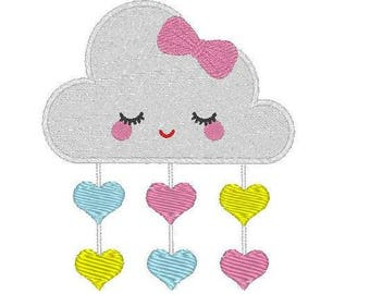 Cloud heart embroidery design - Machine Embroidery Design