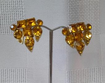 Coro Earrings, Amber Rhinestones, c.1940