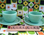 Two (2) Sets of Vintage Jadeite Restaurant Ware Fire-King Cups and Saucers G299 G295