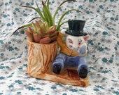 Vintage Ceramic Anthropomorphic Weeping Cat or Rabbit Planter, Japan