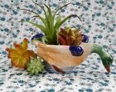 Vintage Ceramic Duck Mallard Planter Japan