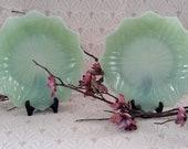 Vintage Jadeite Glass Lotus Plate, Part of Leaf and Blossom Set, Anchor Hocking