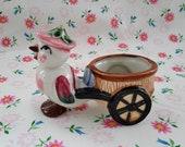 Vintage Ceramic Planter Anthropomorphic Baby Bird Pulling Cart Made in Japan
