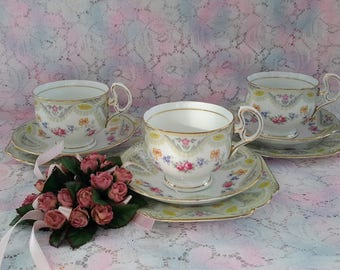 Melba Brocade, Lot of Three (3) Trios, Teacup, Saucer and Cake Plate, Made in England