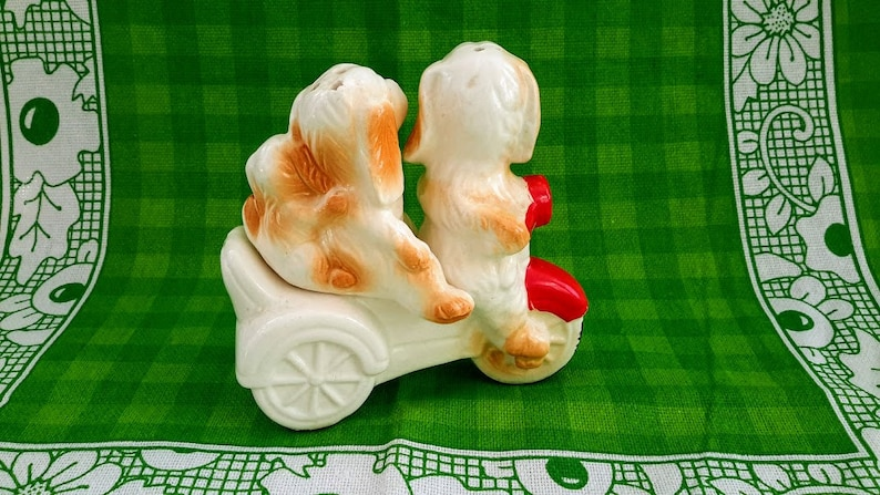 Made in Japan Anthropomorphic Ceramic Dog Family on Scooter Salt and Pepper Shakers