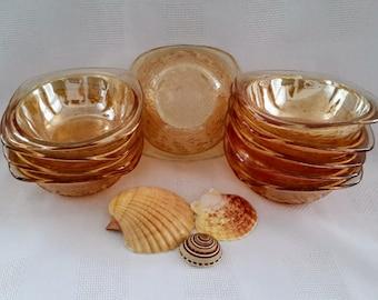 Jeannette Glass Louisa Floragold Dessert/Fruit Bowls, Set of Ten (10)