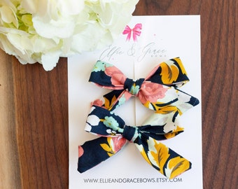The Midnight blue girl bow  Linen bows  Girl bows  Hair accessories