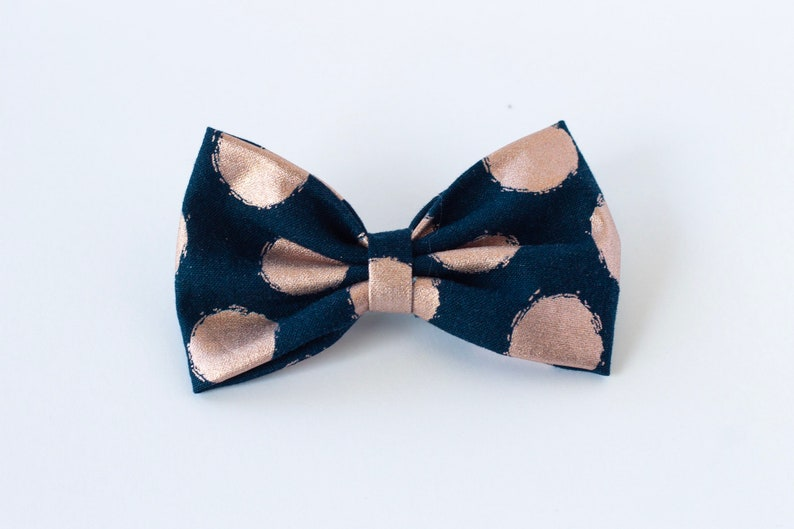 7 Girls Polka Dot Pink White Navy Big Hair Bow Set with Bow Holder /& Gift Bag
