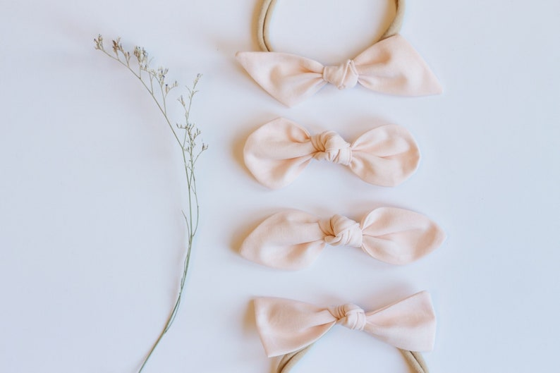 Valentines Day Light Pink Girls Hair Bow Cotton Fabric Knotted Headband Hair Accessories