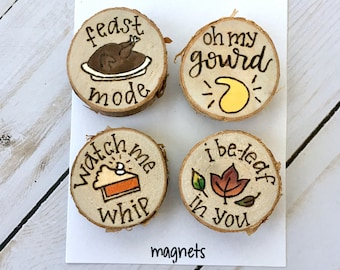 Fall Magnet Set, Fall Decor, Magnets, Wood Burned, Hand Painted, Thanksgiving, Housewarming Gift, New Home, Kitchen Gadgets, Autumn Decor