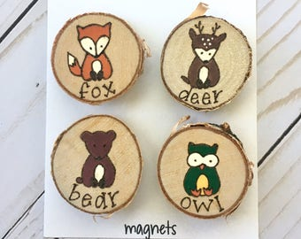 Woodland Animals Magnet Set, Forest Friends, Woodland Creatures, Magnets, Stocking Stuffers, Wood Burned, Personalized Gifts, Unique Gifts