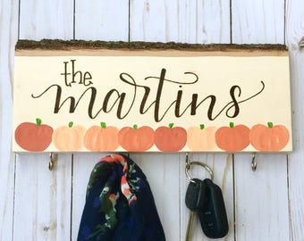 Custom Name Key Holder, Coat Hanger, Fall Decor, Wall Hanging, Fall Decoration, Personalized Gifts, Wedding Gift, Engagement Gift