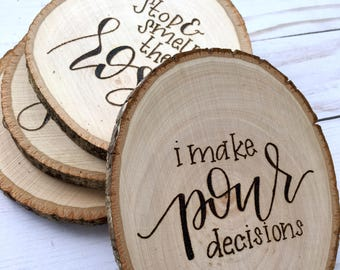 WINE LOVER Coaster Set, Wood Coasters, Gifts for Wine Lovers, Gifts for Her, Gifts for Him, Rustic, Christmas Gift, White Elephant Present