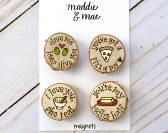 Valentine's Day Magnet Set, Funny Valentine Gift, Punny, Food Puns, Magnets, Wood Burned, Personalized Gifts, Unique Gift, Kitchen, Love