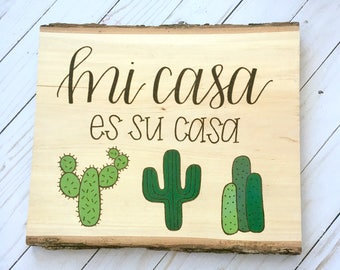 CACTUS Wood Burned Plaque, Cacti, Cactus Sign, Welcome Sign, Spanish, Hand Painted, Hand Lettered, House Warming Gift, New Home, Wood Decor