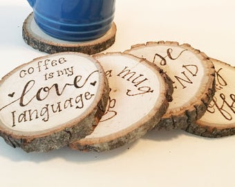 COFFEE LOVER Coaster Set, Coffee Coasters, Gifts for Coffee Lover, Gifts for Her, Gifts for Him, Christmas Gift, White Elephant Present