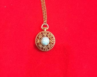 Faux pocket watch pendant, gold tone pendant, 11 inch long necklace, turquoise like pendant, vintage gold tone and turquoise pendant