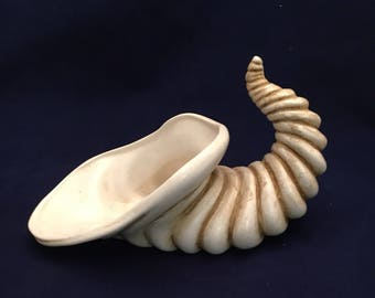 Ceramic horn of plenty, hand painted horn of plenty, vintage horn of plenty, Thanksgiving horn of plenty, Cornucopia Vase,listing #582627159