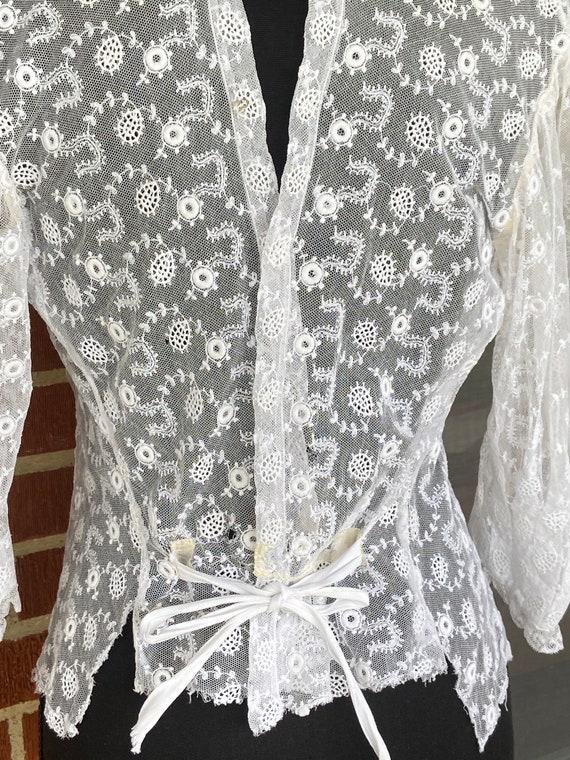Antique Lace Edwardian Blouse, 1910's ,Handmade E… - image 9