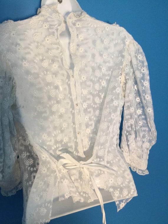 Antique Lace Edwardian Blouse, 1910's ,Handmade E… - image 1