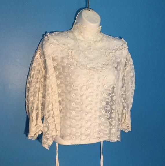 Antique Lace Edwardian Blouse, 1910's ,Handmade Em