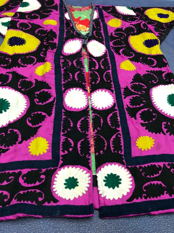 best SUZANI jacket Handmade Embroidery Vintage coat Uzbek chapan Dress Gift The Robe 46xSqF6
