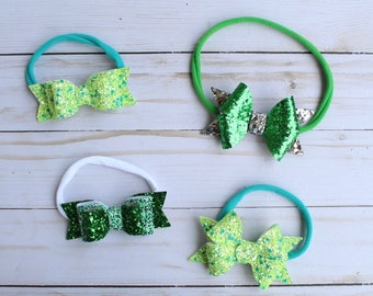 """St. Patrick's Day Baby Bows 3.5"""""""