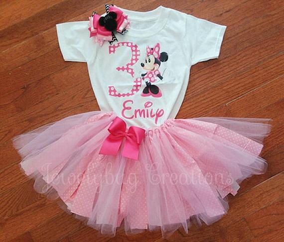 Baby Minnie Mouse Birthday Tutu Outfit Birthday Dress Up Custom Any Name