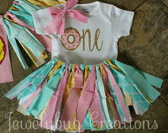 First birthday donut tutu outfit. Highchair banner not included!