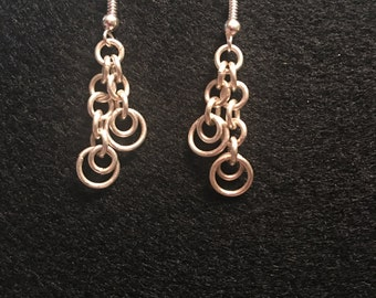 Silver chain maille earrings