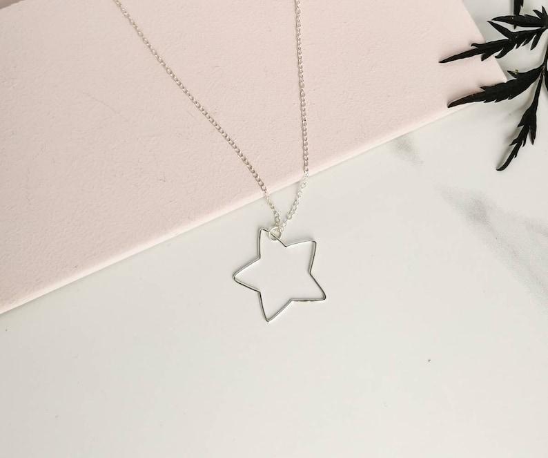 silver star charm recycled silver minimalist jewelry dainty necklace star jewelry 925 Sterling Silver star necklace celestial jewelry