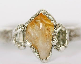 Unique Birthday Gift For Wife: crystal ring for wife, october birthstone ring for wife's birthday, dainty unique anniversary ring, citrine