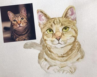 Custom Cat Portrait Watercolor Cat Painting, Watercolor Cat Print Custom Cat Painting Print Custom Cat Drawing Pet Pet Drawing Custom Art