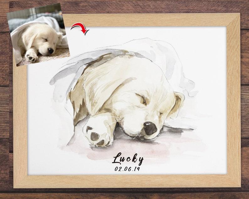 Custom Pet Portrait Watercolor Sketch Pet Portrait Custom image 1