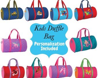Personalized Kids Duffle Quilted Bag-Girls Duffle Bag-Boys Duffle Bag-Monogram  Bag-Embroidered Bag-Stephen Joseph Duffle Bag 98bc31946c72e