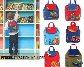 Personalized Quilted Backpack-Toddler Boys Backpack-Superhero-Alligator Pirate-Train-Stephen  Joseph Quilted Backpack-Fire Truck 37168918362e2