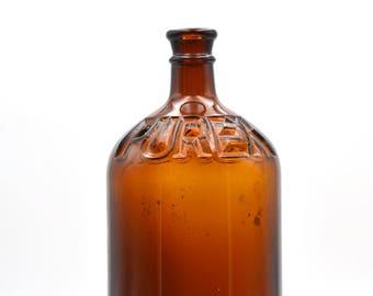 Vintage Amber Purex Bottle 1 Quart, Vintage Glass Bottle, Amber Bottle, Collectible Bottle