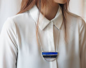 Stained Glass Jewelry - Ocean Tide 'Vene' Necklace - Geometric & Modern