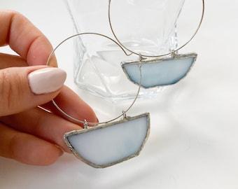 Stained Glass Earrings- Cloudy  'Half Moon' Hoop Earrings