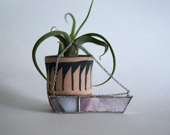 Stained Glass Jewelry - Frosty Violet 'Rayas II' Necklace - Geometric & Modern