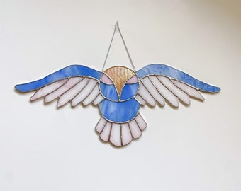 Stained Glass 'Swoop Owl' Suncatcher - Modern and Geometric