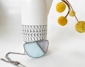 Stained Glass Jewelry - Baby Blue 'Teilt' Necklace - Geometric & Modern