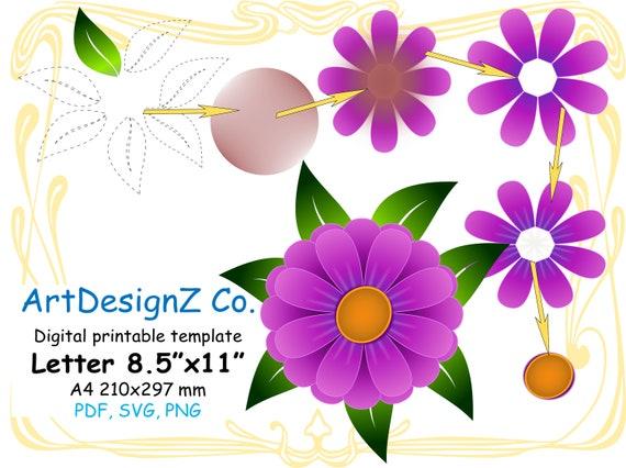 Vector paper flower template 3d floral stencil scrapbook mightylinksfo