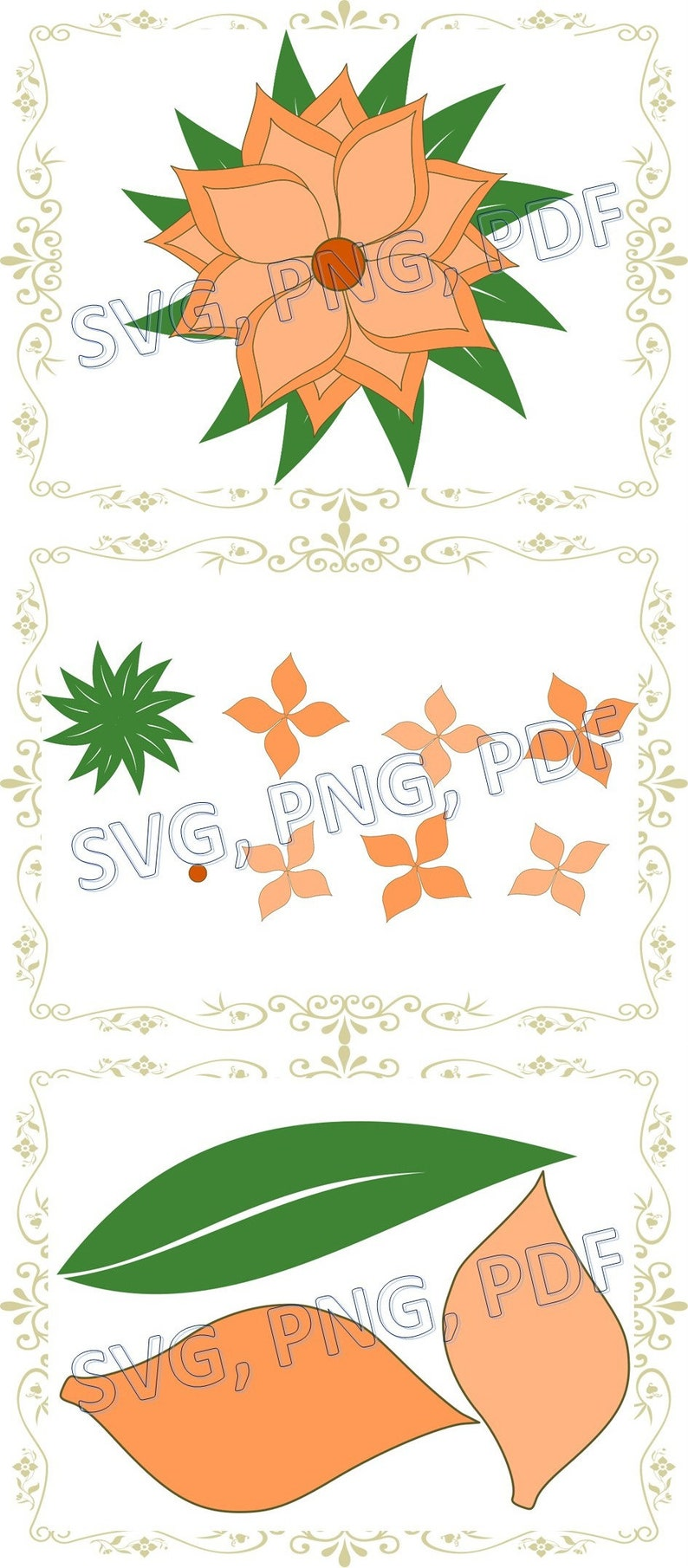 Set Di Modello 3d Di Fiori Carta In Formato Svg Dxf Svg Etsy