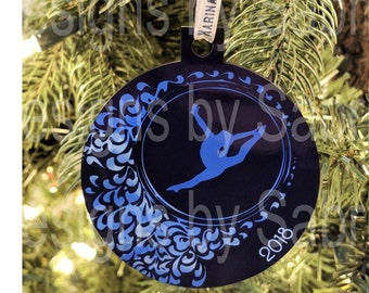 She believed she could fly so she did gymnast gift glitter ornament Gymnastics ornament