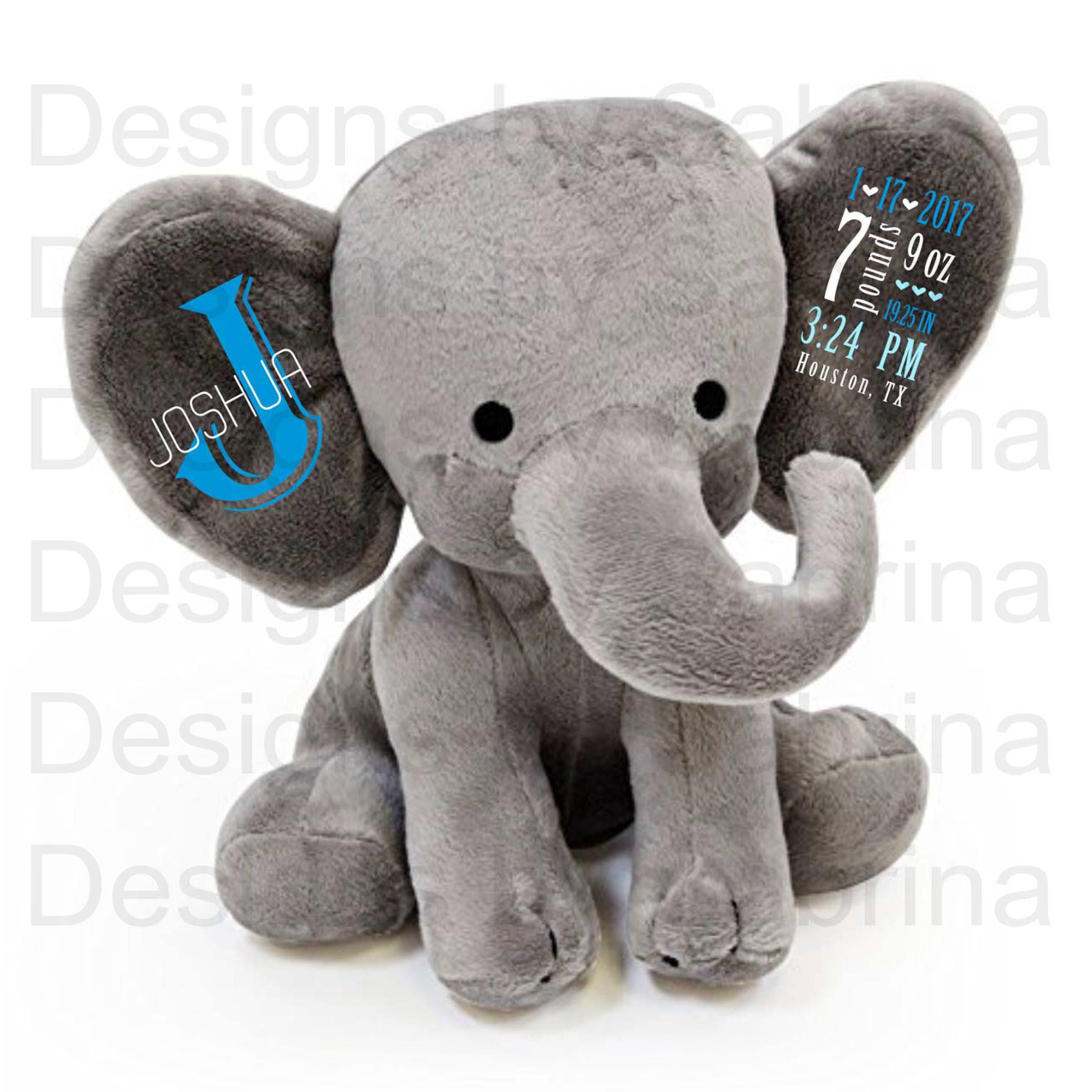 Personalized Elephant Personalized Baby Gift Baby Shower Gift Baby Gift Plush Elephant Stuffed Elephant Birth Announcement Baby Keepsake