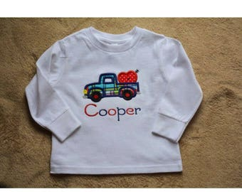 Boys personalized applique valentine heart truck shirt