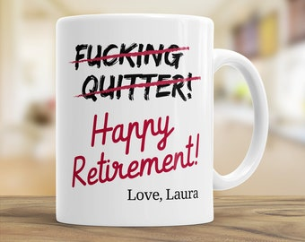 Funny Retirement Tea Mug, Happy Retirement, Gift Coffee Mug for Coworkers, Colleagues, Friend Leave Gift, Personalised Retirement, Work Gift